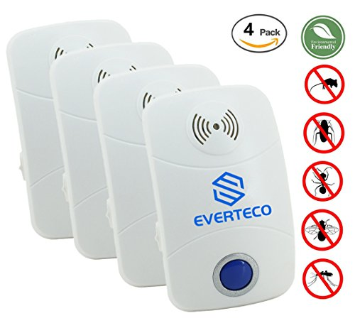 Everteco Pest Control Ultrasonic Repeller for Mosquitoes- SAFE for Children and Pets - Quickly Eliminates Flies, Cockroaches, Spiders, Fleas, Mice, Rats (Pack of 4)