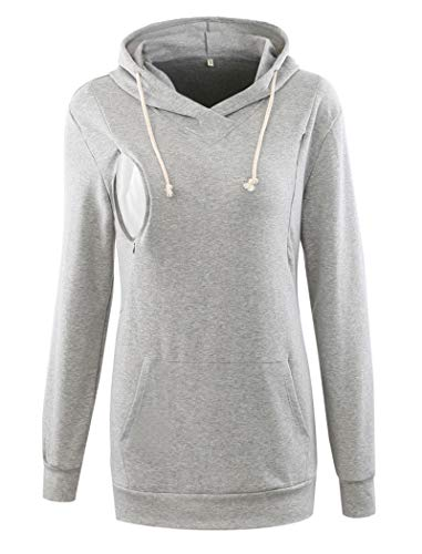Ecavus Womens Fleece Maternity Nursing Sweatshirt Hoodie Zip up Pullover Breastfeeding Top with Kangaroo Pocket