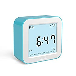 DreamSky Digital Alarm Clock With Timer And Night Light ,Time/Date/Temperature Display In 4 Angle , Battery Operated
