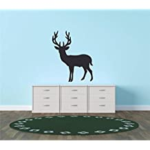 Design with Vinyl Hope 121-12 Decor Item Deer Buck Hunting Wild Animal Living Room Bedroom Kitchen Peel and Stick Graphic Mural Decal Wall, 20-Inch by 20-Inch, Black