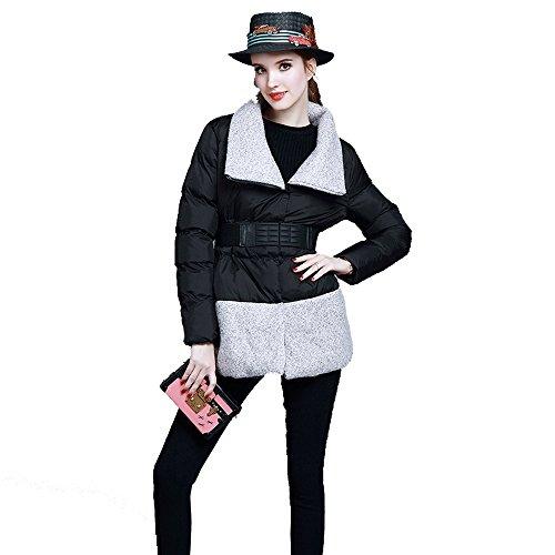 Frau Taille Revers Wollanzug Wattierte Jacke Nähen Multicolor Multi-Größe,Black-s