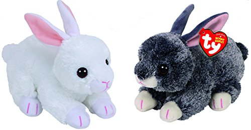 TY 2018 BUNNIE SET FOR EASTER - 2 PC - SMOKEY & (Easter Bunny Beanie)
