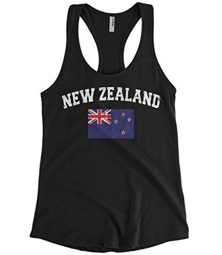 Cybertela Women's Faded Distressed New Zealand Flag Racerback Tank Top (Black, (Distressed Womens Tank Top)