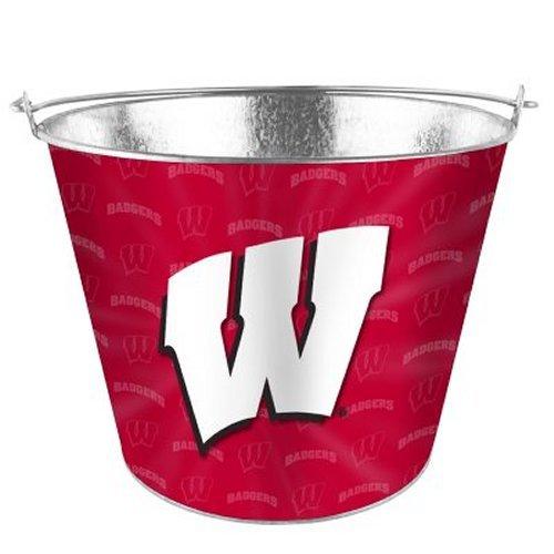 (NCAA Wisconsin Metal Beer Bucket with Tonal Wrap Graphics | Wisconsin Badgers Ice Bucket)
