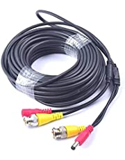 EKYLIN 65FT 20M Pre-Made 2-in-1 BNC Video + Power DC Extension Cable for CCTV Security Camera Home Surveillance Closed-Circuit TV System