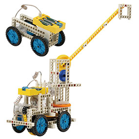 Build 10 remote control models including a crane and a simple car