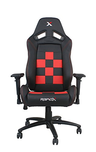 Cover Palm Futon - Finish Line Red on Black Checkered Flag Pattern Gaming and Lifestyle Chair by RapidX