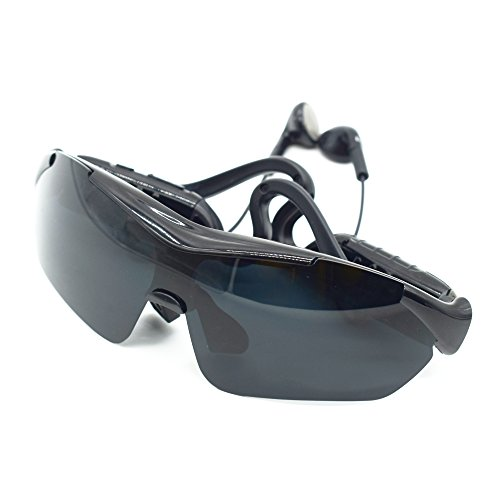 Vogue Bluetooth Sunglasses Equipped with Stereo Earphones, Touchpad and Adjustable Nose Pads, 3 Polarized Lenses Interchangeable Provided, Rechargeable