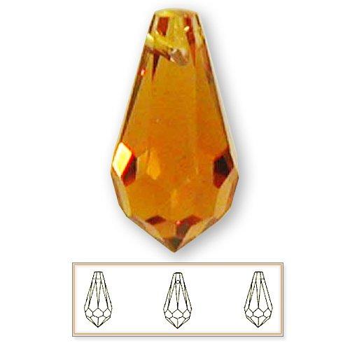 Topaz Swarovski Crystal Pendant (12 pcs 15mm Swarovski Crystal 6000 Teardrop Pendant Beads, Topaz)