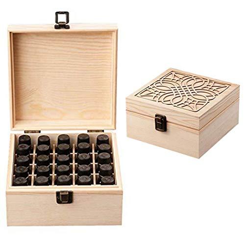 JISGUEES 25 Slots Essential Oil Bottle Wood Storage Box Case Wood Aromatherapy Organizer 18188.5 cm Pine Essential Oil Case Wooden