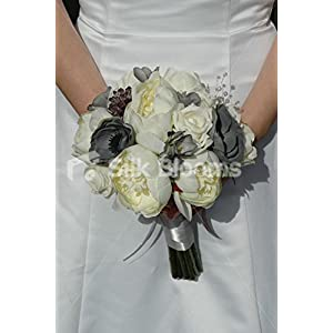 Silk Blooms Ltd Stunning Rounded Bridal Bouquet Ivory Ranunculus & Grey Freesia