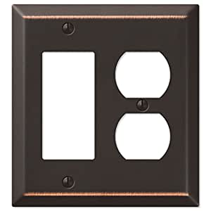 COMBO- POWER OUTLET/ROCKER Oil Rubbed Bronze Wall Switch Plate Outlet Cover
