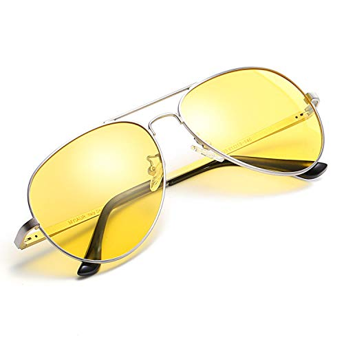 Myiaur Night Driving Glasses, HD Vision Yellow Glasses, for Fashion Men & Women - Polarized Lens Anti Glare (silver frame yellow night driving glasses)