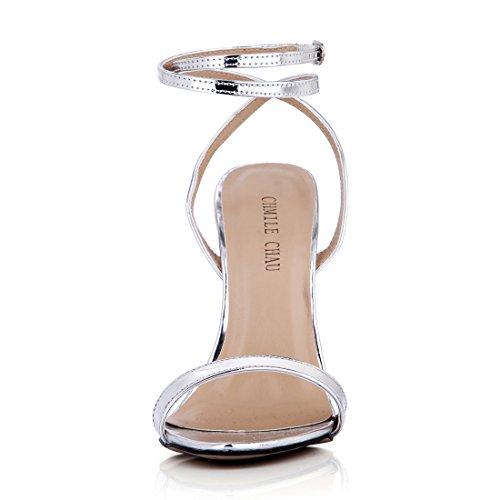 Cinturino CHMILE Moda Argento patent a Donna Tacco alla Caviglia Metallo CHAU Sandali Partito a Alto Sexy Scarpe Tacco da Spillo ZxUwZqrpO
