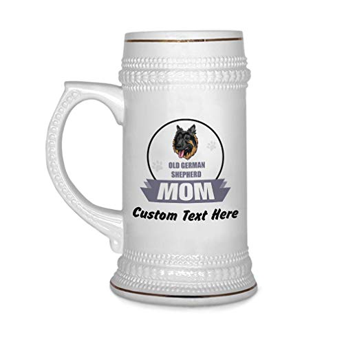 Custom Beer Mug Mom Old German Shepherd Dog Ceramic Drinking Glasses Beer Gifts White 18 OZ Personalized Text Here