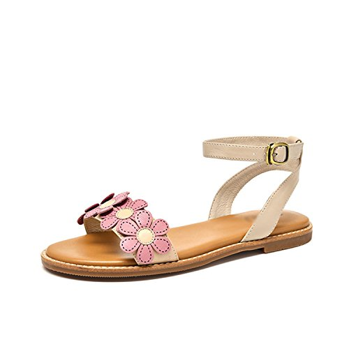 Appliques Summer Sandals Ankle Flats apricot Strap Perfues Leather Women Handmade Genuine Lady Sheepskin Top xAqfHZvH0w