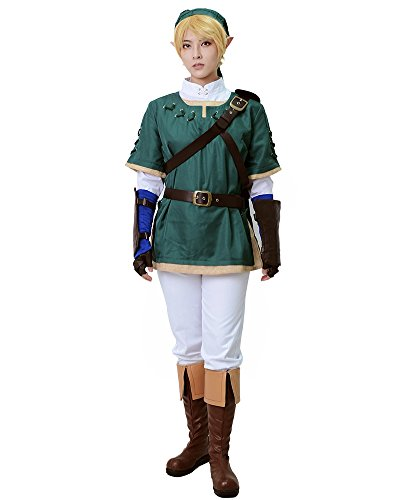 Miccostume Men's the Legend of Zelda Link Cosplay Costume Large Green and White