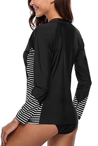 ALove Womens Long Sleeve Rashguard Top Stripe Surfing Shirts Swim Top Black XXL by ALove (Image #2)