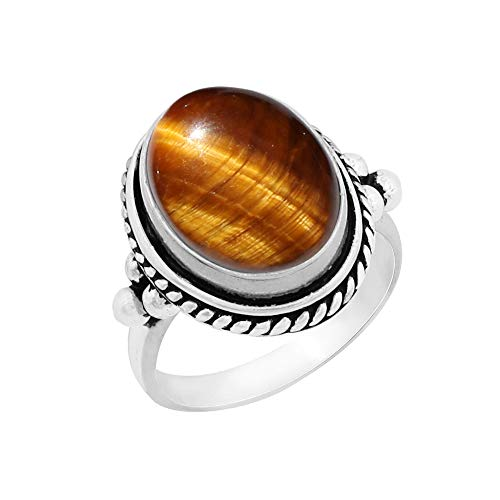 Genuine Large Oval Shape Tiger Eye Solitaire Ring 925 Silver Plated Vintage Style Handmade for Women Girls (Size-8.5)