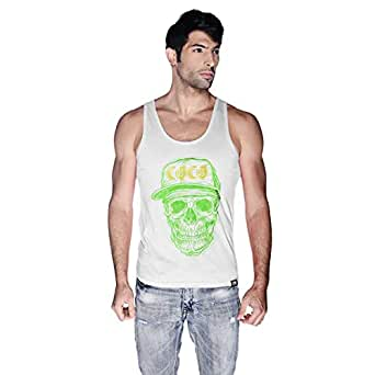 Creo Green Yellow Coco Skull Tank Top For Men - S, White