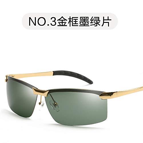 Retro de Oscuro de conducción Marco film polarizadas dark de Gafas Sol Espejo Verde green para para Gold Burenqiq Gafas frame Hombre Negro Sol de Gafas polarizadas Hombre Sol 8YBqP