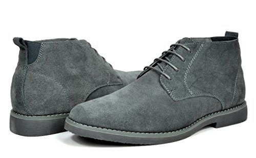 Bruno Marc Men's Chukka Grey Suede Leather Chukka Desert Oxford Ankle Boots - 7 M US