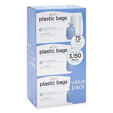 Ubbi Diaper Pail 75-Count Value Pack Plastic Bags (2 Pack) by Ubbi