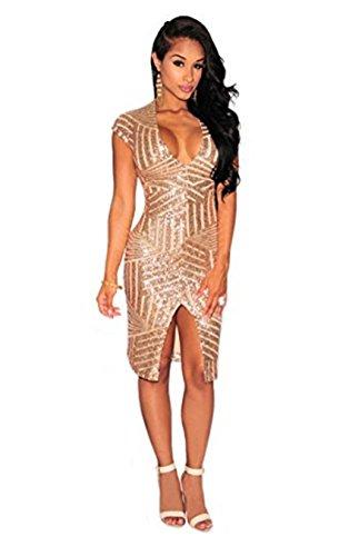 V-Neck Sequin Dress - 7