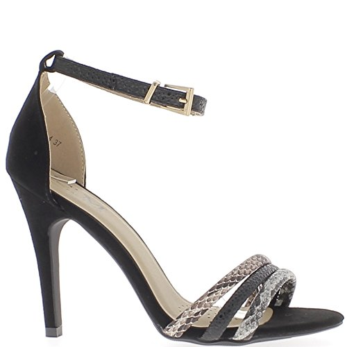 negro 5 suede talón con 10 aspecto cm sandalias finas de Acabar bridas qBvwfOx1