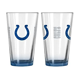 2015 NFL Football Elite Series Beer Pints - 16 ounce Mixing Glasses, Set of 2 (Colts)