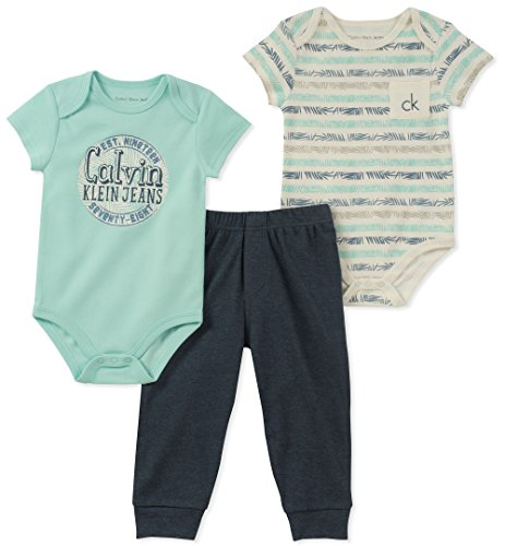 Calvin Klein Baby Boys 3 Pieces Creeper Pant Set, Mint Green/Navy, 6-9 Months - Baby Infant Creeper