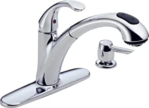 Delta 16929-SD-DST Single Handle Pull-Out Kitchen Faucet with Soap Dispenser, Chrome