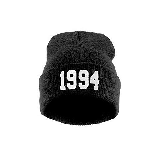 (Cornermeve Numbers 1994 Knitted Beanies Hats Women Men Cap Casual Hat Wool Cap Hip Hop Street Dance Ski Caps Black)
