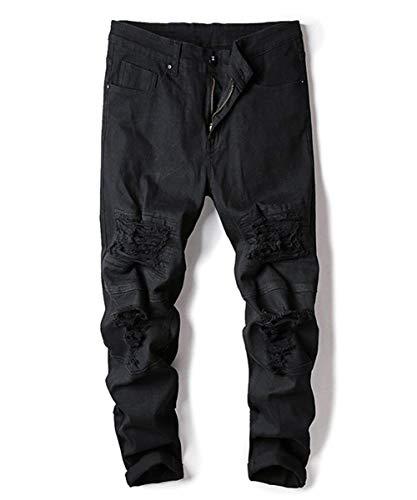 Vestibilità Moda Vintage Strappati Regolare Nero In Da Denim Pantaloni Alla Jeans Comodi Abbigliamento Uomo Casual A wCqXCEP