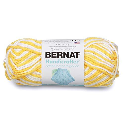 Bernat Handicrafter Cotton Ombre Yarn, 1.5 oz, Gauge 4 Medium, 100% Cotton, Lemon Swirl -