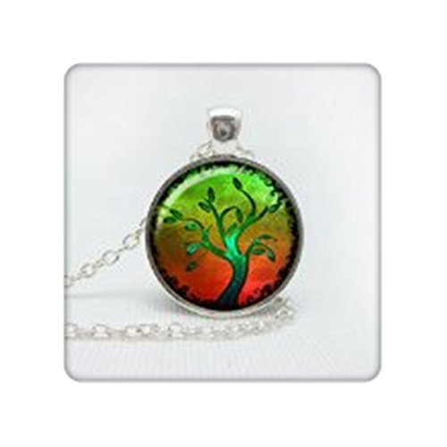 SALE Tree art necklace , turquoise teal necklace, tree nature jewelry, holidays gift idea ,mom , mother, grandma ,nana ()