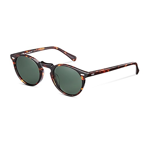 CANYEUX Vintage Round Polarized Sunglasses for Women and Men, 100% UV Protection (Tortoise Frame With Green Lens)