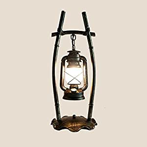 Lámpara de tabla Lámpara de escritorio retro del arte del hierro Lámpara de cristal de alta ...