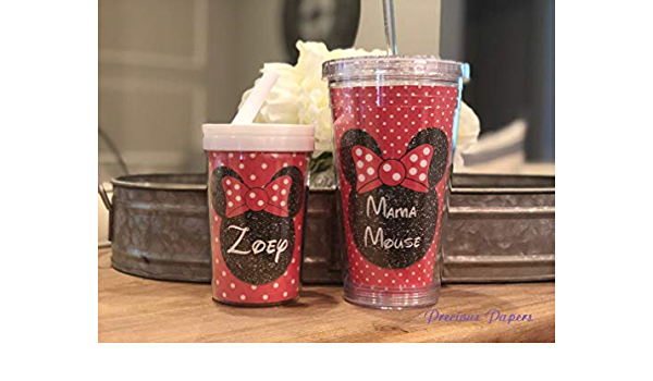 Personalized Mouse toddler cup Mouse kids cup with lid and straw with your choice of accent color
