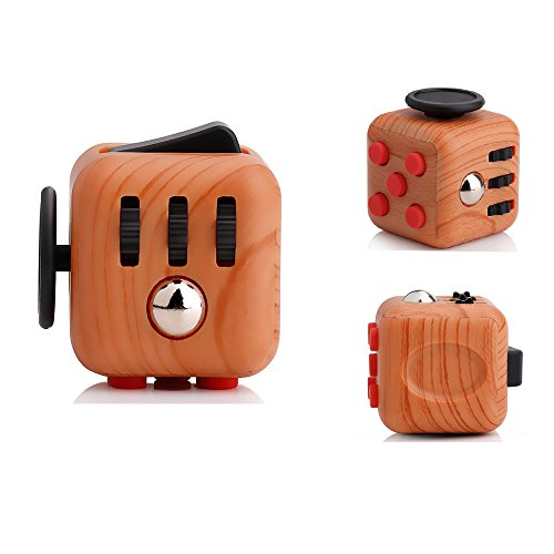 Ratoop Fidget Toy Cube Relieves Stress and Anxiety Attention Toy for Work, Class, Home, Wooden