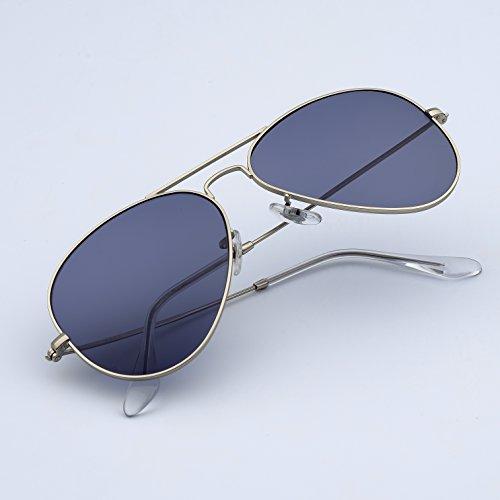 6fdc8d51b3 BNUS Corning natural glass aviator High Performance Polarized Sunglasses  Italy made (Frame  Matte Silver   Lens  TrueColor Light Grey