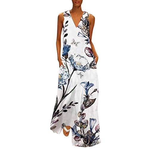 New in HAALIFE◕‿Women deep V Neck Sleeveless Dress for Summer Printed Floral T Shirt Dresses White