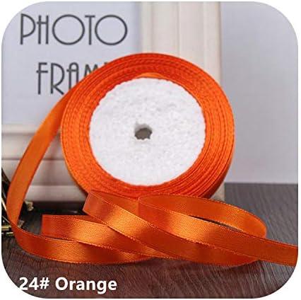 kawayi-桃 25ヤード/ロールグログランサテンリボン結婚式のクリスマスパーティーの装飾6mm-40mm DIY弓クラフトリボンカードギフト-Orange-15mm