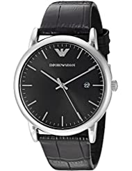 Emporio Armani Mens AR2500 Dress Black Leather Quartz Watch