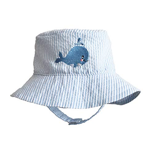 Huggalugs Baby and Todder Boys Blue Seersucker Whale Sun Hat UPF 25+ 6-14