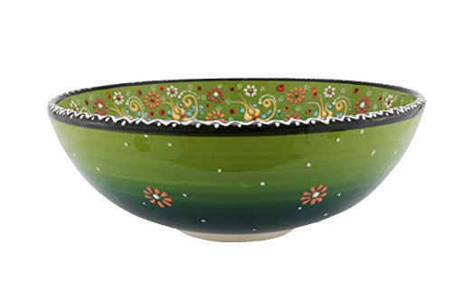 Handmade Ceramic Salad  Serving And Mixing Bowl With Flowers   12 Different Colors And Patterns   10 Inch   Great Serving Bowls For Fruit  Salad  Rice  Aegean Green
