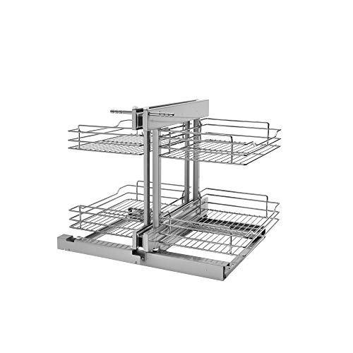 Rev-A-Shelf 5PSP-15SC-CR-6 15 Inch Chrome Soft Close Blind Corner Kitchen Cabinet Organizer, Silver