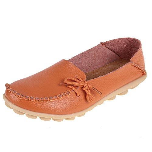 Orange Leather Footwear - Pinpochyaw Women's Moccasin Leather Loafers Shoes Slip On Driving Shoes Casual Flats (10 B(M) US, Orange)