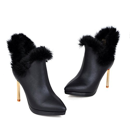Leather Black Collar Stiletto Imitated Fur Ladies Pinker Boots Winkle BalaMasa w0SzHq44