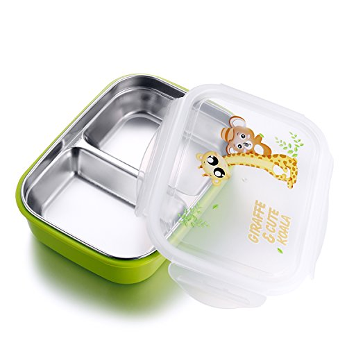 Stainless Steel Lunch Box for kids adults,Food Storage Container,Bento Boxes,Meal Prep,BPA free (medium green 2 compartments)
